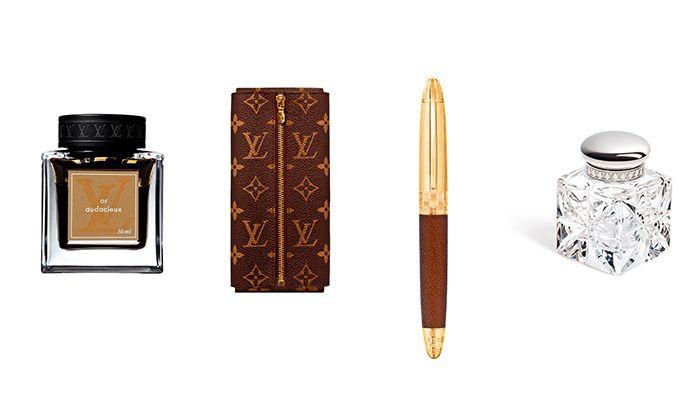 水晶墨水瓶、金色墨水、Monogram 筆袋、Sprit 滾珠筆,all by Louis Vuitton,NT42,000、NT1,700、NT15,300、NT36,000。