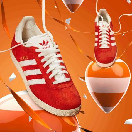adidas Originals GAZELLE系列鞋款情境照(橘紅色-女款) NTD3,890