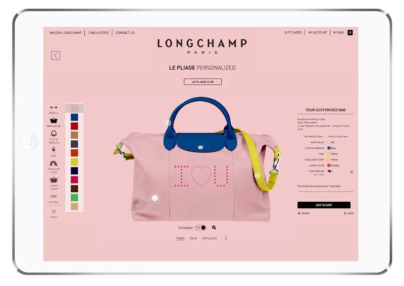 小羊皮摺疊包訂製服務,採平版電腦供粉絲模擬選色,直接與法國工坊連線下單。