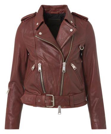 Gidley 酒紅羊皮女騎士皮衣夾克 定價21,500