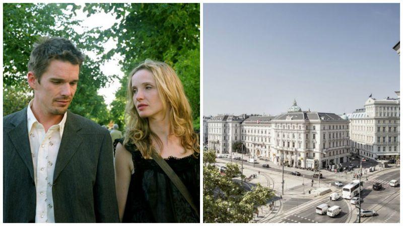 《愛在黎明破曉時》Celine決定和Jesse下火車,剛認識的兩人在維也納綠色鐵橋Zollamtssteg Bridge上展開二十四小時的維也納之旅。