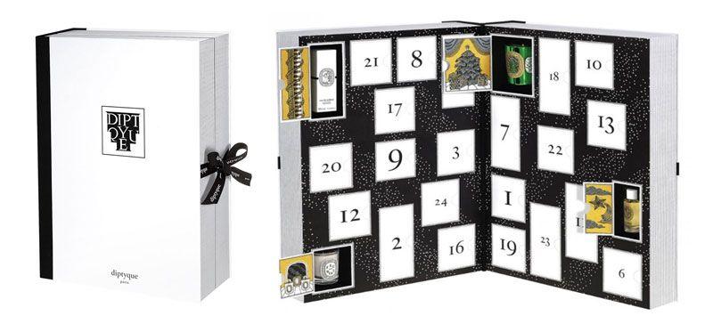 DyptiqueDiptyque今年推出的這個倒數月曆由12月1日開始倒數,由強烈的黑白搭配色彩作為月曆的呈現,總共有大大小小不同的25個方格子,裡面裝得包括了dyptique的經典蠟燭和精油、香氛系列,豐富又很值得收藏。預計11月底12月初才到台灣,數量據說也非常稀少,想收藏的人手腳要快!目前看到的價格為英鎊£250。