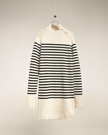 條紋剪裁連身裙NT3990