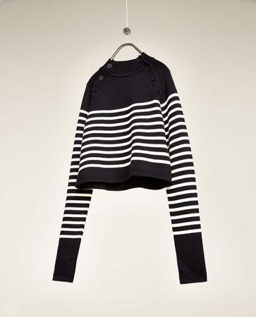 條紋短版針織衫NT3490