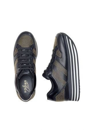 HOGAN H222黑色皮革飾金屬鉚釘繫帶休閒鞋_$32,200