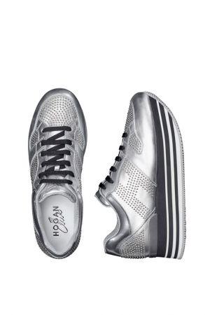 HOGAN H222銀色皮革飾金屬鉚釘繫帶休閒鞋_$32,200