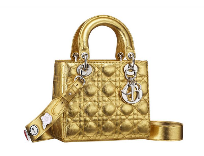 My Lady Dior金色藤格紋與幸運徽章揹帶提包NT$125,000