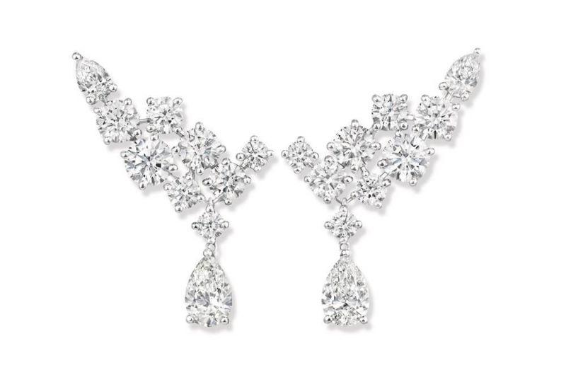 Sparkling Cluster 絢漪錦簇系列鑽石耳環,Harry Winston