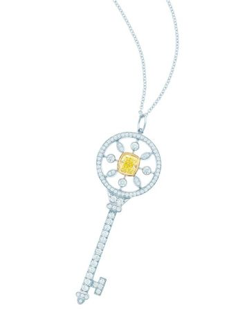 Tiffany Keys 黃鑽與白鑽圓形萬花筒鑰匙鍊墜 (Elle Fanning 配戴款),價格店洽