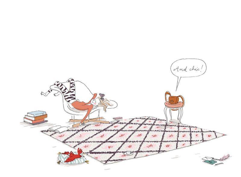 3_她也很享受休閒時刻。並且把自己攤開假裝是一條毛毯。Delvaux小姐說這是能讓自己完全放鬆這是最棒的方式了。當她厭倦了假裝毛毯,她喜歡做一些計畫,而她的計畫中總是包含我和Mutin Mini,因為我們輕巧而實用。所以,mes amis(我的朋友),讓我們來看看接下來一周她做了什麼計畫吧!