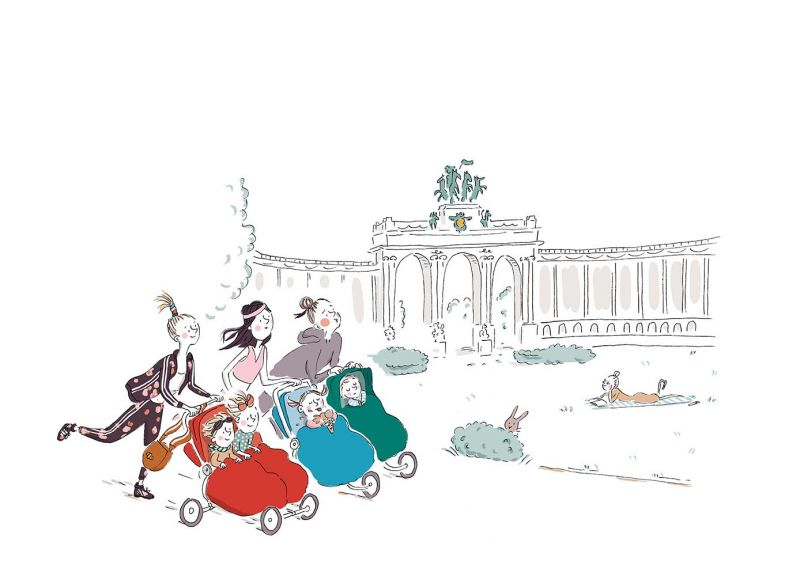7_Bruxelles 接下來,我們留在布魯塞爾與她的幾位媽媽朋友推嬰兒車慢跑。Delvaux小姐說她喜歡做運動,我想她是喜歡任何關於「運動風條紋」(sporty stripes)的事物,這些都讓她想到我們。