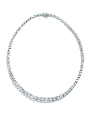 Tiffany 2016 Masterpieces 高級珠寶系列 鉑金鑲嵌Legacy切割鑽石與圓形明亮式切割鑽石緞帶造型項鍊