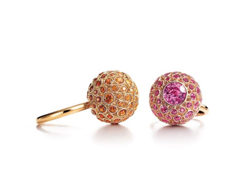 Tiffany 2016 Masterpieces 18K金鑲嵌黃色剛玉與錳鋁榴石戒指,18K玫瑰金鑲嵌粉紅剛玉戒指