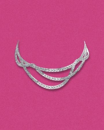 Tiffany 2016 Masterpieces 鉑金鑲嵌圓形明亮式與方型切割鑽石緞帶造型項鍊