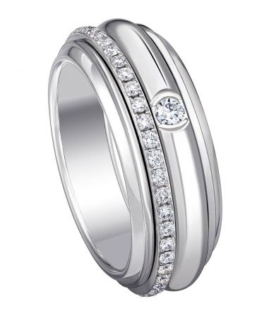 Possession18K白金指環鑲嵌46顆圓形美鑽(約0.45克拉)台幣參考售價 192,000起