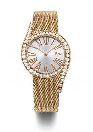 Limelight Gala Milanese腕錶32毫米18K玫瑰金材質鑲嵌63顆圓形美鑽(約重1.76克拉)18K玫瑰金米蘭網織鏈帶刻有伯爵首字母「P」字樣的滑釦搭載伯爵製690P石英機芯台幣參考售價1,240,000元
