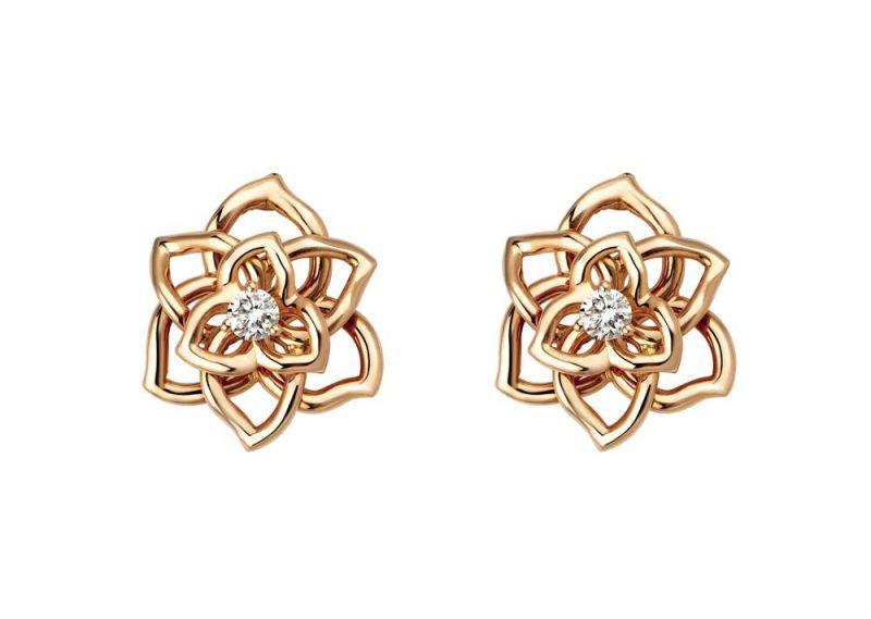 Piaget Rose18K玫瑰金耳環鑲嵌2顆圓形美鑽(約0.12克拉)台幣參考售價98,000