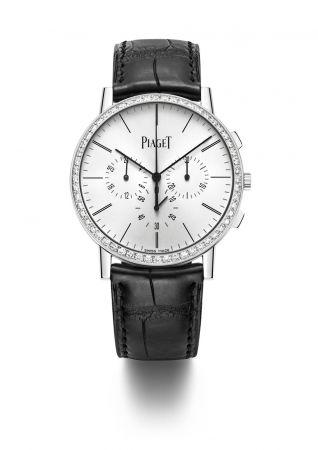 Piaget Altiplano 計時腕錶全球最纖薄手動上鍊飛返計時腕錶41 毫米18K白金錶殼鑲嵌56顆圓形美鑽(約重1.75克拉)飛返計時功能、小秒針及第二時區顯示搭載伯爵製883P超薄手動上鍊機芯鱷魚皮錶帶針扣式錶釦G0A40031台幣參考售價 1,400,000元