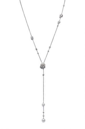 Piaget Rose 墜鍊18k白金鑲嵌99顆圓形美鑽(約2.47克拉)3顆Akoya珍珠2顆南海珍珠G37U9465台幣參考售價725,000元