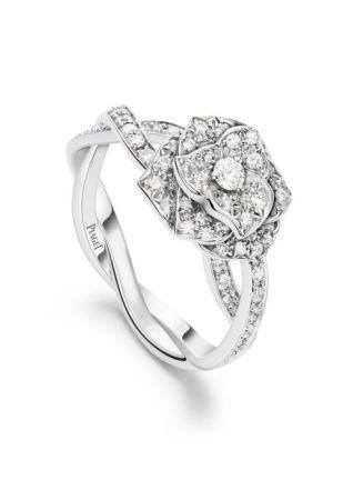 Piaget Rose 指環18K白金71顆圓形美鑽(約0.50克拉)G34UR852台幣參考售價236,000元