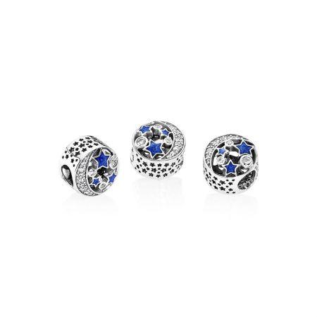 PANDORA 懷舊夜空藍色琺瑯鋯石925銀串飾 NT$2,680
