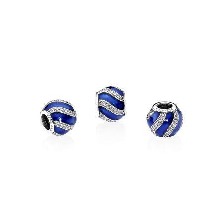 PANDORA 藍色裝飾球藍色琺瑯鋯石925銀串飾 NT$2,680