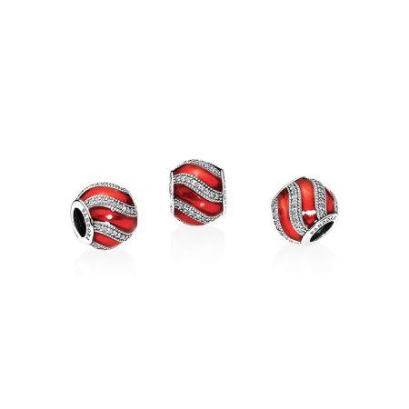PANDORA 紅色裝飾球紅色琺瑯鋯石925銀串飾 NT$2,680