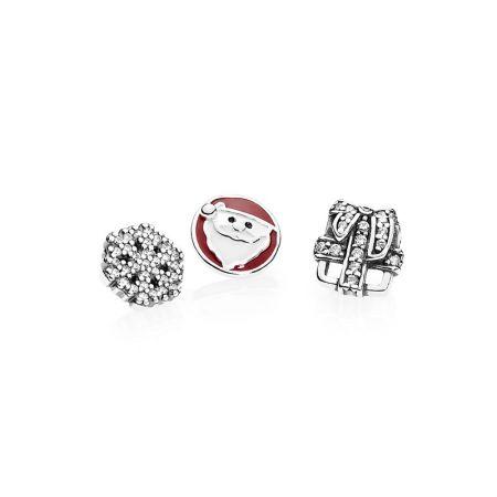 PANDORA 聖誕奇蹟白色及黑色琺瑯鋯石925銀小配飾 NT$1,780
