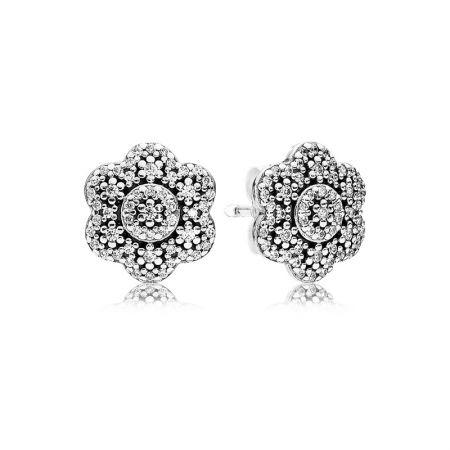 PANDORA 凝冰花卉鋯石925銀耳環 NT$3,180