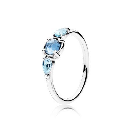 PANDORA 凝霜掠影藍水晶925銀戒指NT$2,280