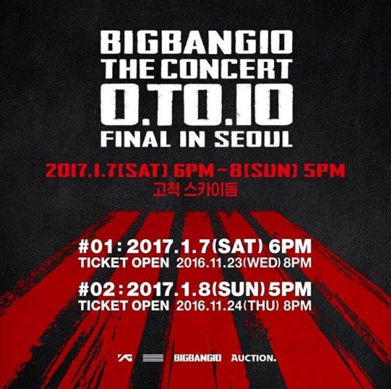 BIGBANG 明年1月7日-8日將在首爾高尺巨蛋舉辦十周年演唱會「BIGBANG10 THE CONCERT : 0.TO.10 FINAL IN SEOUL」。