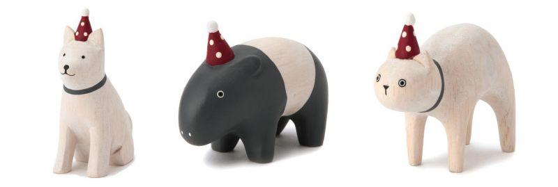 溫馨耶誕木質擺飾(秋田犬、馬來貘、貓咪),售價420元