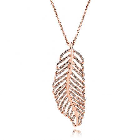PANDORA Rose閃爍羽毛鋯石項鏈