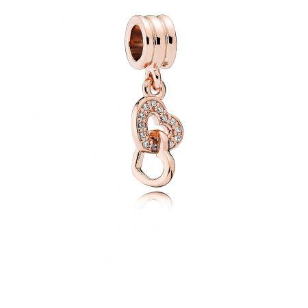 PANDORA Rose雙心鋯石吊飾 NT$2,280