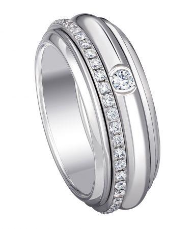 Possession18K白金指環鑲嵌46顆圓形美鑽(約0.45克拉)G34P9A00台幣參考售價192,000起