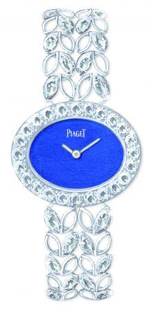 Sunny Side of Life 高級珠寶腕錶27 x 22 毫米18K白金材質青金石錶盤錶殼鑲嵌24顆圓形美鑽(約重1.80克拉)、錶鍊鑲嵌32顆馬眼形切割鑽石 (約重3.84克拉)、錶釦鑲嵌36顆圓形美鑽(約重0.16克拉)搭載伯爵製 56P石英機芯G0A41262台幣參考價格 3,410,000元