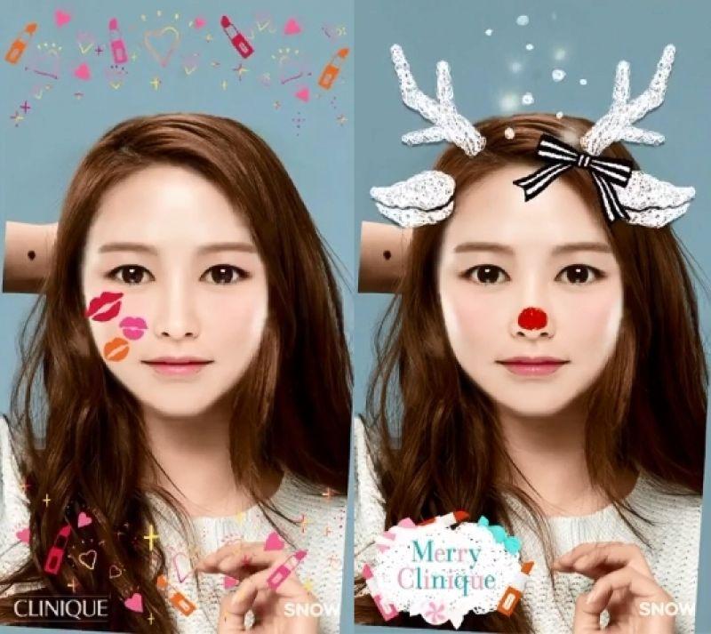 倩碧與自拍動畫APP-SNOW合作,推出「聖誕小鹿」與「派對紅唇」2款新模組。