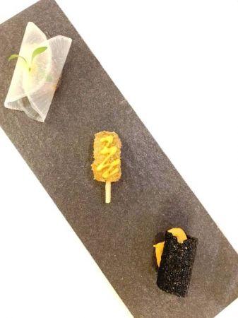 開胃小點:香酥牛肉丸、酥脆海苔捲、鮭魚甜捲