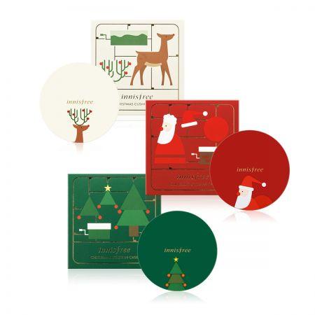 innisfree 聖誕限量舒芙蕾粉餅盒(聖誕老人、聖誕馴鹿、聖誕樹),各NT290