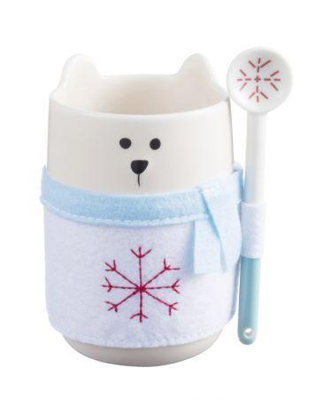 白圍巾熊馬克杯