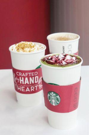 星巴克推出3款節令限定飲料 太妃核果風味那堤、燕麥焙香那堤、紅絲帶抹茶那堤