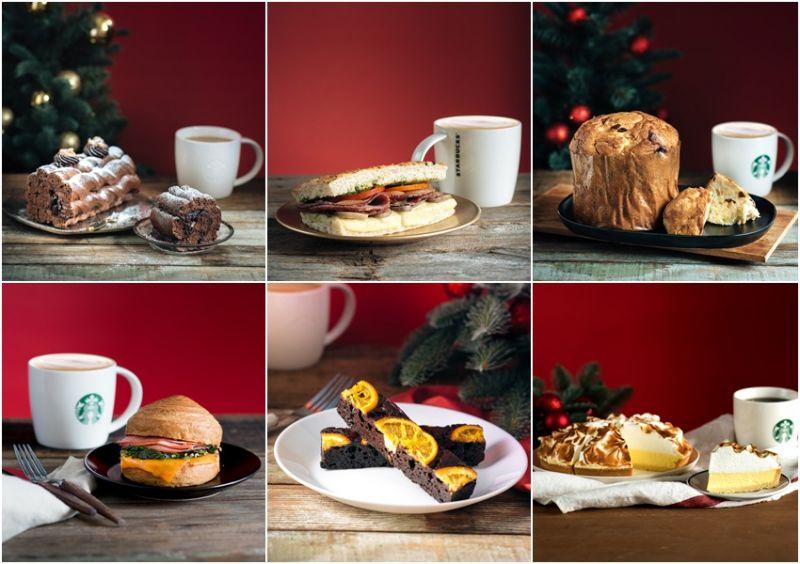 左至右:巧克力樹幹麵包、青醬牛肉佛卡夏、潘那朵尼水果麵包蔓越莓雞肉可頌堡、橙香起司布朗尼、爐烤檸檬起司塔