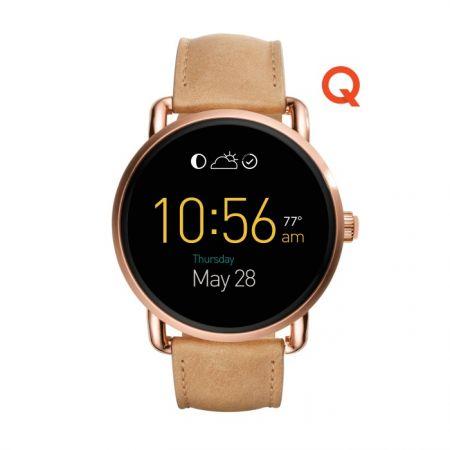 Fossil Q Wander 觸控式螢幕配淺咖啡色皮革錶帶(FTW2102),NT$10,500