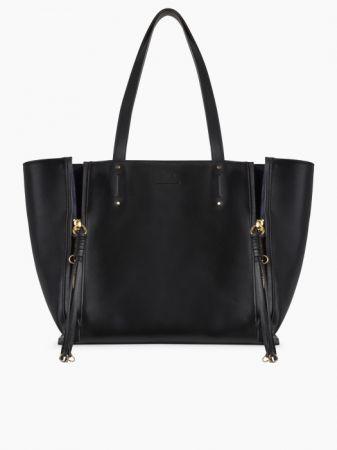 MILO 麂皮與光滑小牛皮托特包 (黑色) 43,300元