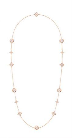 Louis Vuitton Blossom珠寶系列Color Blossom白色珍珠母貝鑲鑽長項鍊 Q94212 TWD$885,000