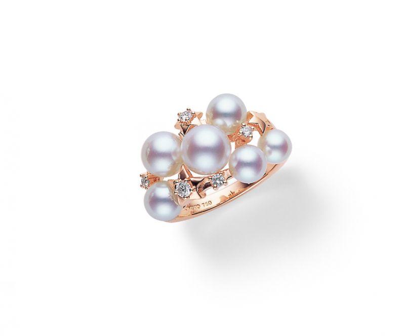 MikimotoStarry Night系列日本Akoya真珠鑽石戒指,52,000元