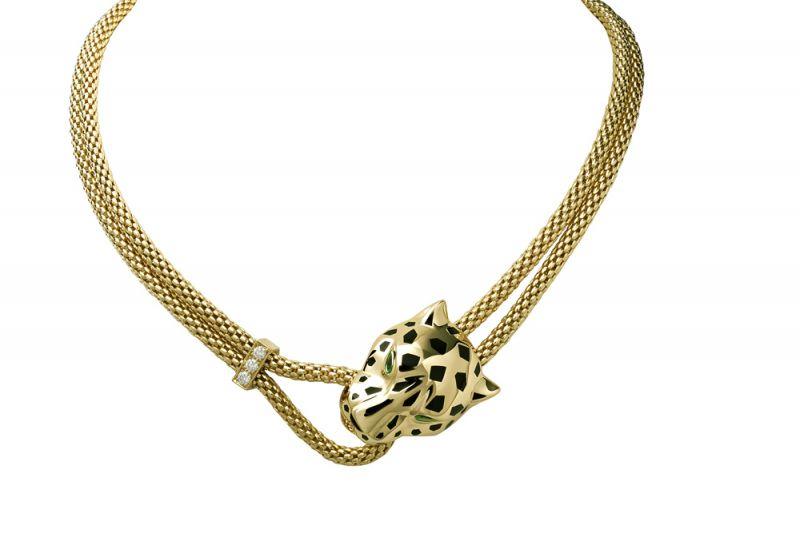 卡地亞Panthère美洲豹系列黃K金項鍊