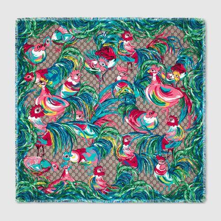 GUCCIGG Rooster 新年限定公雞彩繪絲巾 NT$14,400