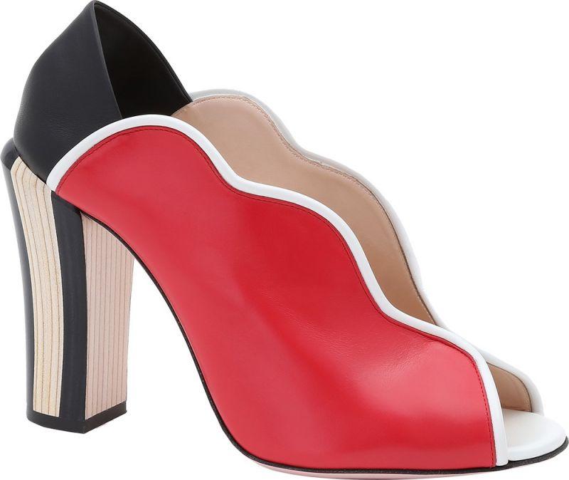 色塊拼接波紋跟鞋