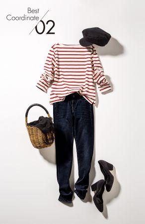 女裝條紋船型領T恤(長袖)NT$590